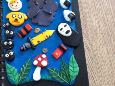 Polymer Clay Adventure Time.Spirited Away Sketchbook Cover!