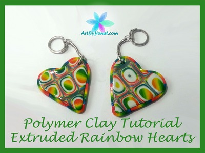 Polymer Clay Tutorial - Extruded Rainbow Hearts - Lesson #28