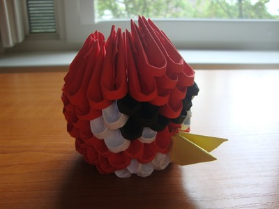 3D origami mini red angry bird