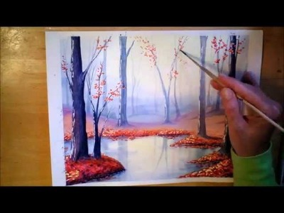 Autumn Forest in Watercolor - painting process time lapse