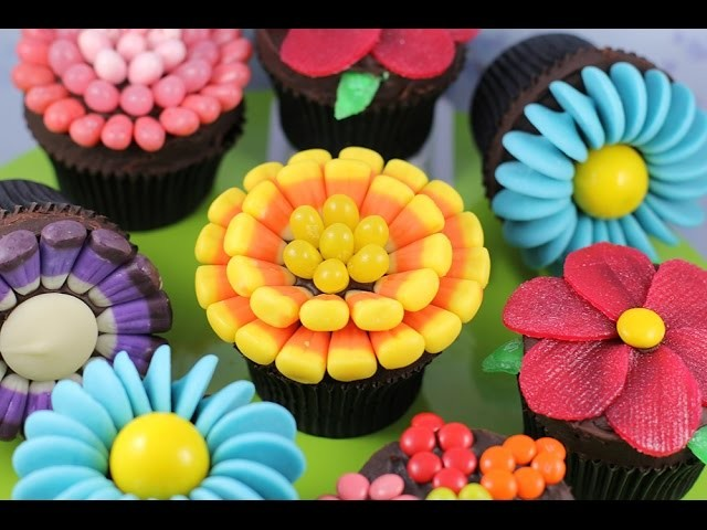 Easy Flower Cupcakes - Candy Flowers w. NO Fancy cutters! | My Cupcake Addiction