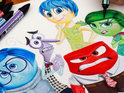 INSIDE OUT ☼ Drawing Riley's Emotions ☼ Sadness Fear Joy Anger & Disgust Disney Pixar Speed Art How