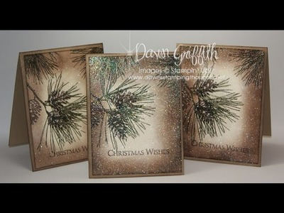 Ornamental Pine Embossed Christmas card with Dawn
