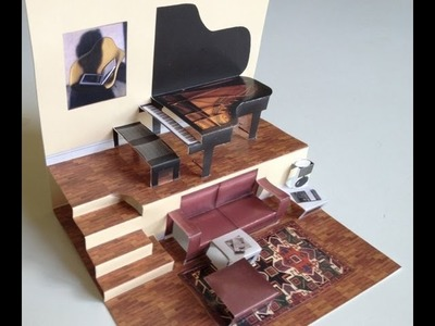 Pop-up living room with grand piano