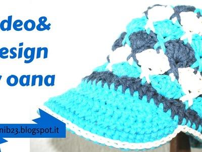 Crochet beanie with visor