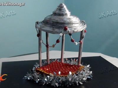 DIY Ganpati Makhar Decoration from Newspaper Rolls | How to make | JK Arts 674