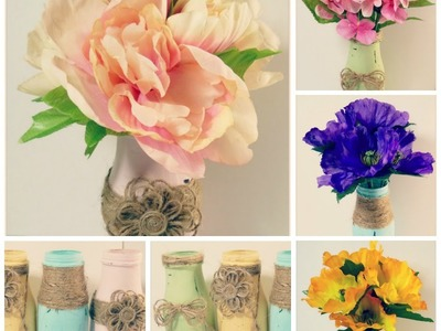 (DIY)Recycle distressed StarBuck coffee jars-Shabby Chic