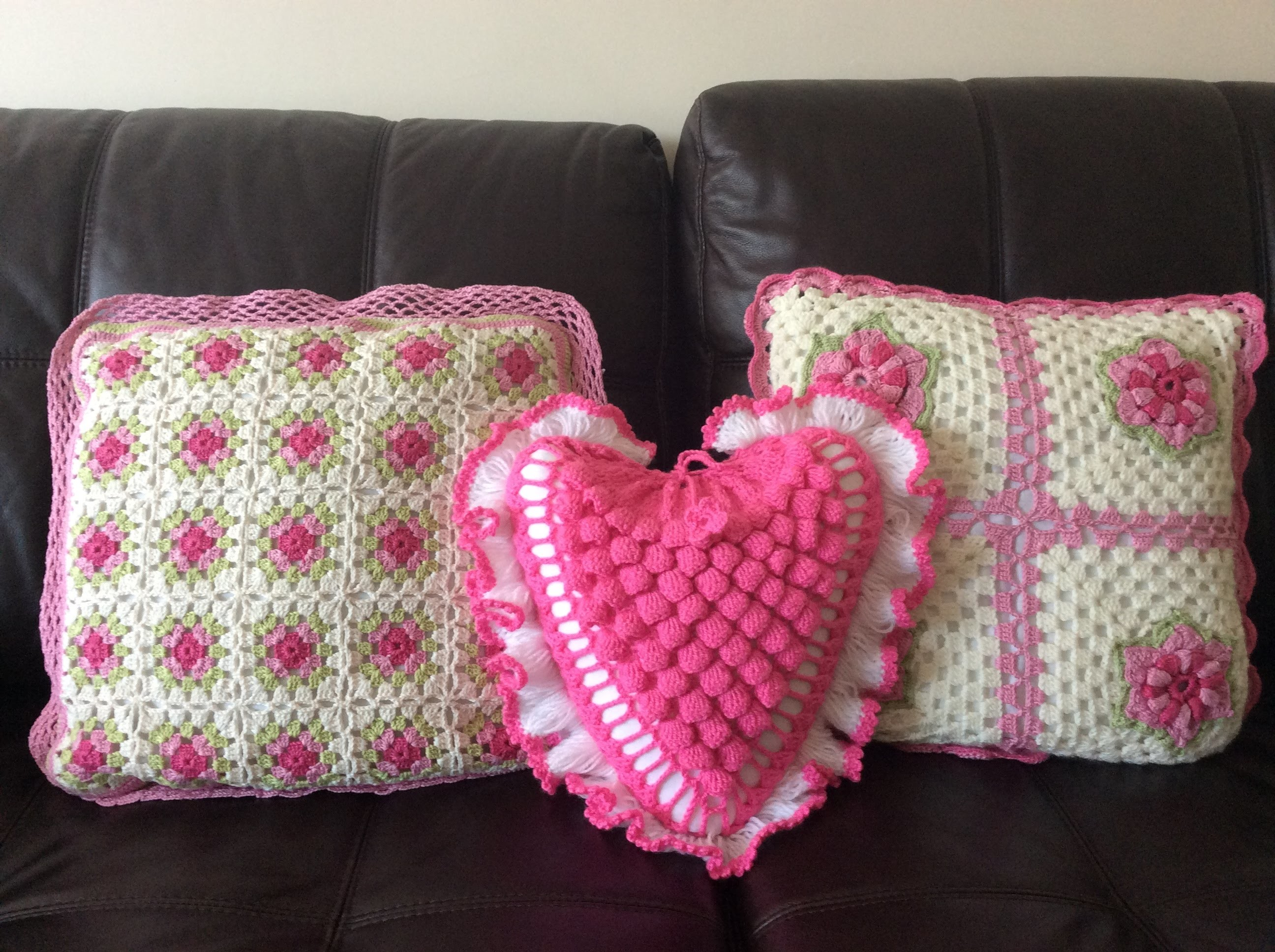 Heart shaped cushion made from crochet pt 4 of 4 by Lin