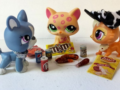 How to Make LPS Tiny Junk Food Snacks - DIY Fried Chicken, Soda, Candy, & Chips