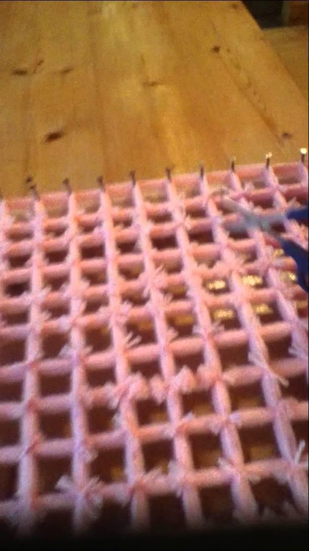 Loom board pom pom blanket part 4