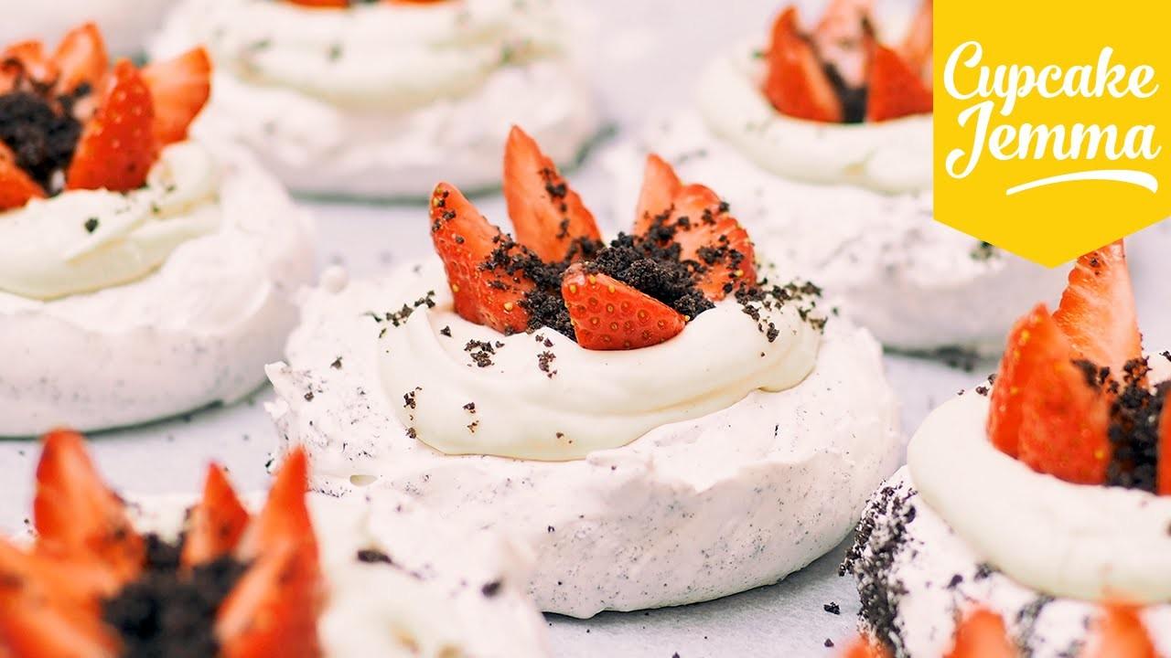 Mini Oreo Pavlovas with Malted Cream and Strawberries | Cupcake Jemma