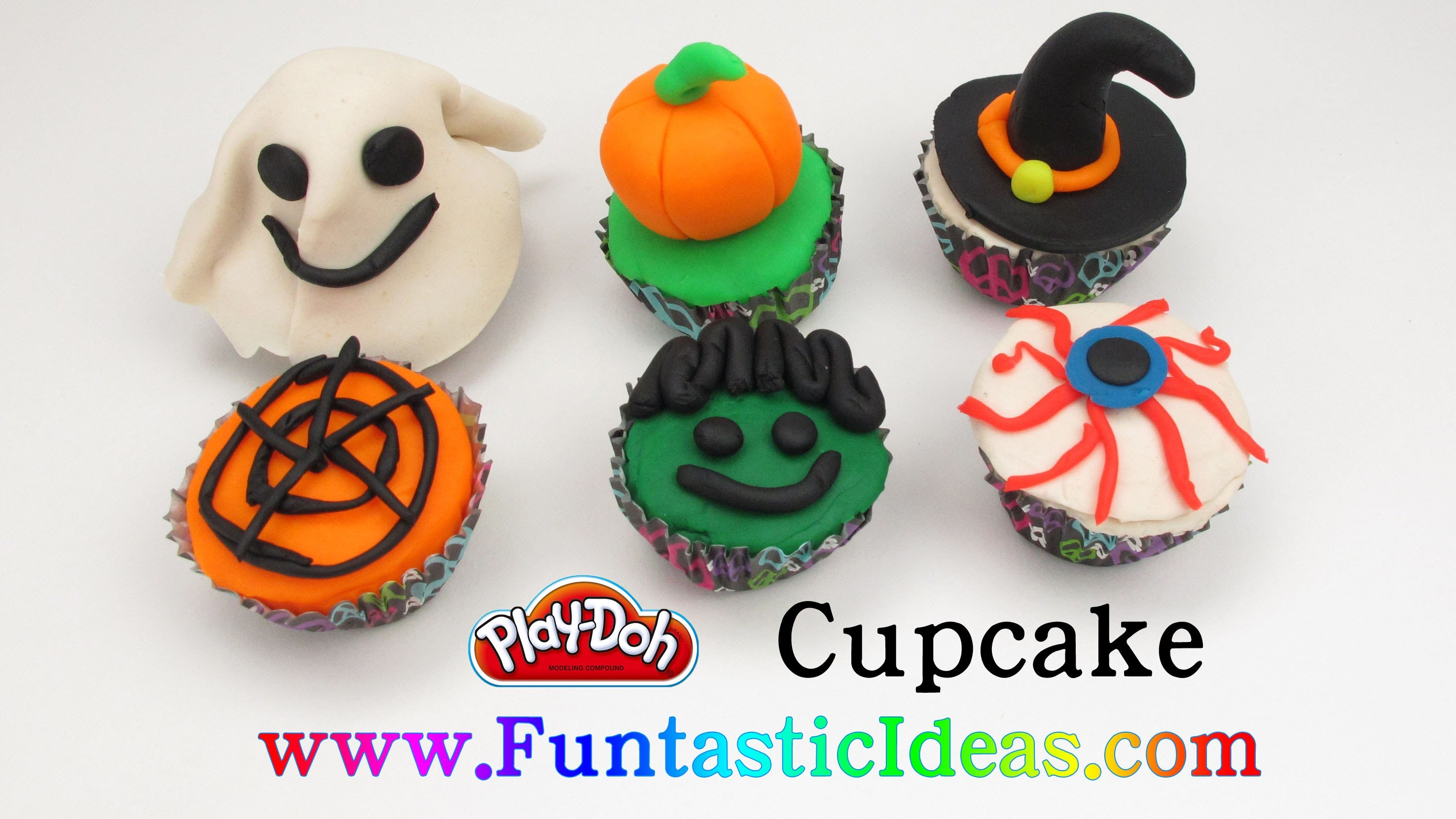 Play Doh 6  Cupcakes Halloween Edition - How to tutorial with playdough by Funtastic Ideas