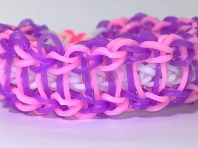 Purple Pink Rainbow Loom Ladder Bracelet With Two Forks.Without Loom! DIY