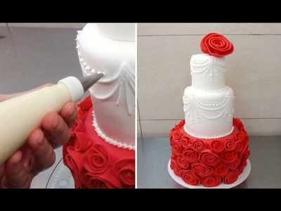 Rose Red Cake Fondant Decorating - How To by CakesStepbyStep