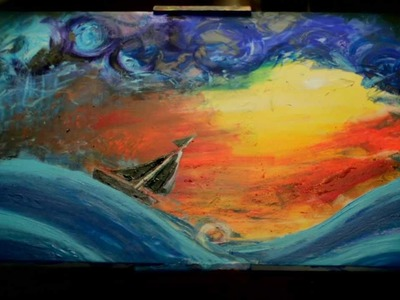 Time Lapse Acrylic Painting of sailing adventure painting art time lapse