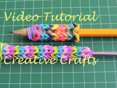 Tutorial adaptador para ganchillo o lapiz de gomitas. Rainbow Loom grip pencil or hook.