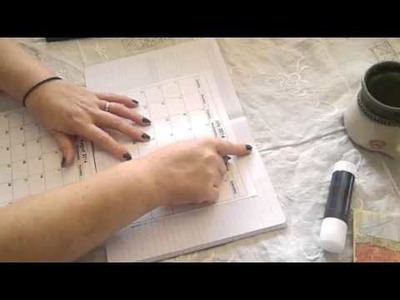 """Tutorial. P2. Composition Book Day Planner """" glueing in the calendar """""""
