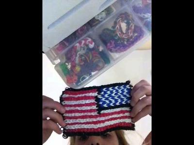 B's American flag on rainbow loom