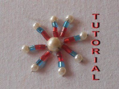 BEAD EMBROIDERY:HOW TO SEW BUNGLE BEAD & PEARL MOTIF
