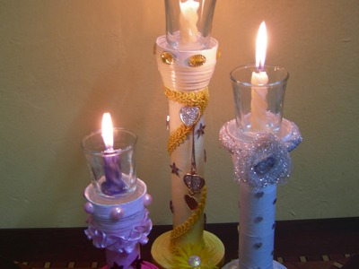 Best Out Of Waste Paper Colourful Candle Stands - Set of 3