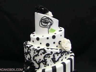 Black & White Topsy Turvy Wedding Cake