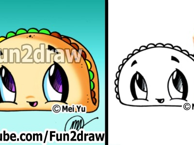 Cute Easy Drawings - How to Draw Cartoon Food - Taco - dibujos animados - dibujo
