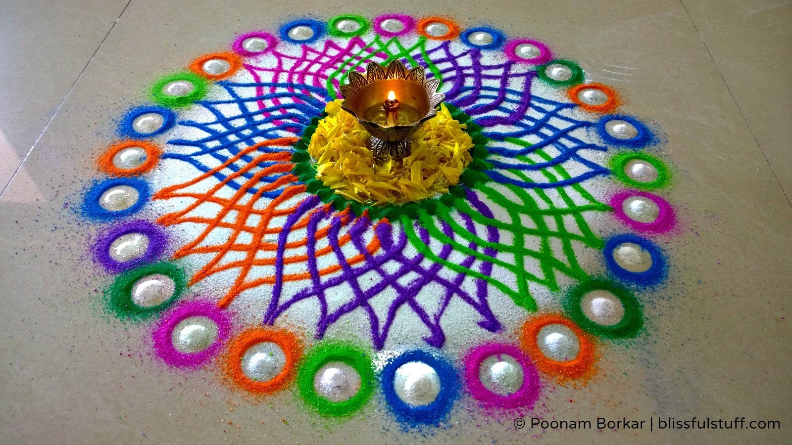 Diwali special rangoli design - Multicolored flower rangoli
