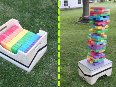 DIY Giant Jenga Game Table. Storage Box