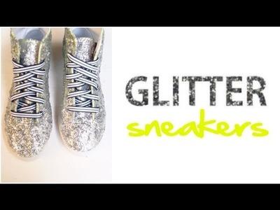 DIY Glitter High Top Sneakers A La Miu Miu