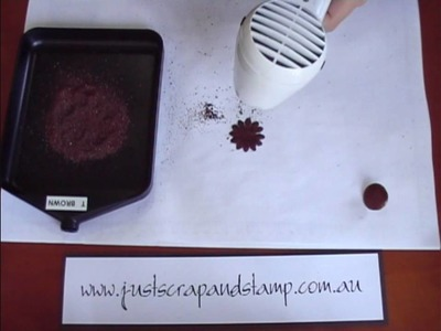 Embossing a Brad and Paper Flower - Opals Embossing Enamel Powder