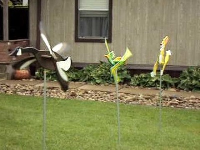 Goose, road runner, and bunny whirlygig