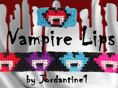 New Vampire Lips Kiss Bracelet. Charm Grid Pattern - Alpha. Rainbow Loom - Halloween