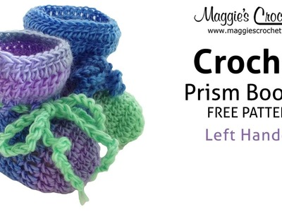 Prism Baby Booties Free Crochet Pattern - Left Handed