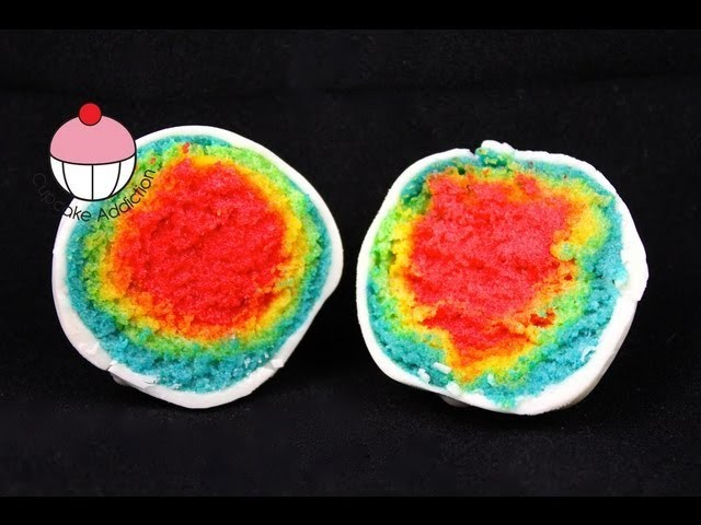 RAINBOW Cakepops!!! Make Rainbow Layer Cake Pops - A Cupcake Addiction How To Tutorial