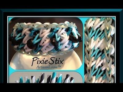 Rainbow Loom Band Pixie Stix Bracelet Tutorial.How To