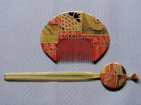 Antique Japanese Bakelite Kanzashi Set Hairpin & Comb