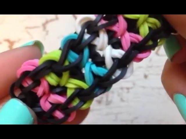 Easy way how to make bowtie rainbow loom bracelet tutorial
