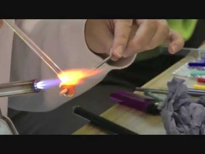 Glass bead making at Flowerfield