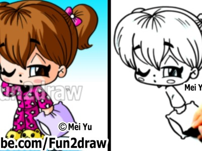 How to Draw Chibi People - Girl in Cool PJs - Art Lessons - Fun2draw