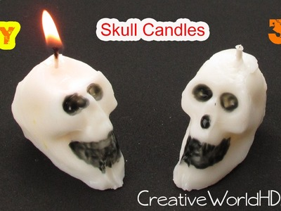 How to Make 3D Skull Candle.Halloween DIY Tutorial by Creative World