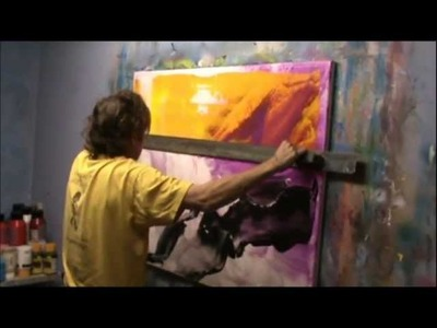 Learn To Paint Abstract Painting With Really Big Scraper. By Jan van Oort