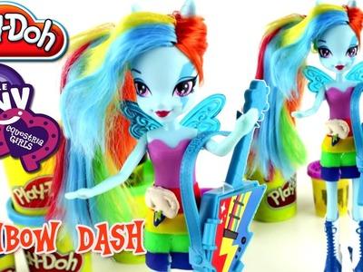 ♥ My Little Pony Equestria Girls Rainbow Rocks Play Doh Rainbow Dash Doll Rockin' Dress Playdough
