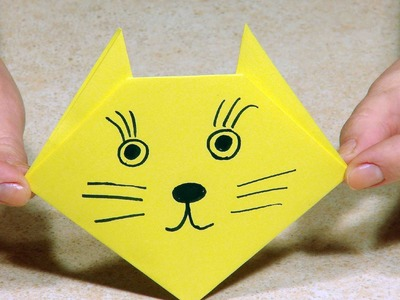 Origami for kids. Origami Cat.