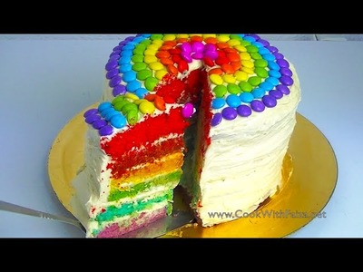 RAINBOW CAKE *COOK WITH FAIZA*