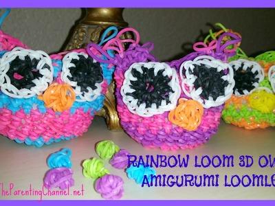 RAINBOW LOOM 3D OWL - LOOMLESS AMIGURUMI LOOMIGURUMI HOOK ONLY