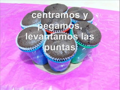 Base muy simple para un bouquet o ramo de cupcakes.wmv