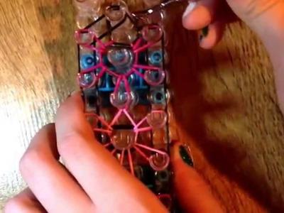 Como fazer a pulseira starburst rainbow loom!! 1 tear!