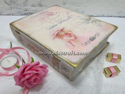 Decoupage tutorial - DIY.  How to decorate a book treasure box. Vintage style.