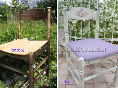Decoupage tutorial - DIY. How-to distress.paint furniture.  How to use chalk paint. Shabby chic