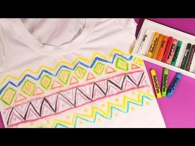 DIY Aztec Print Shirt using Fabric Crayon